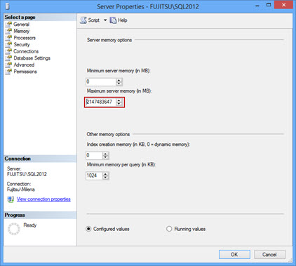 Setting the Maximum server memory in SSMS