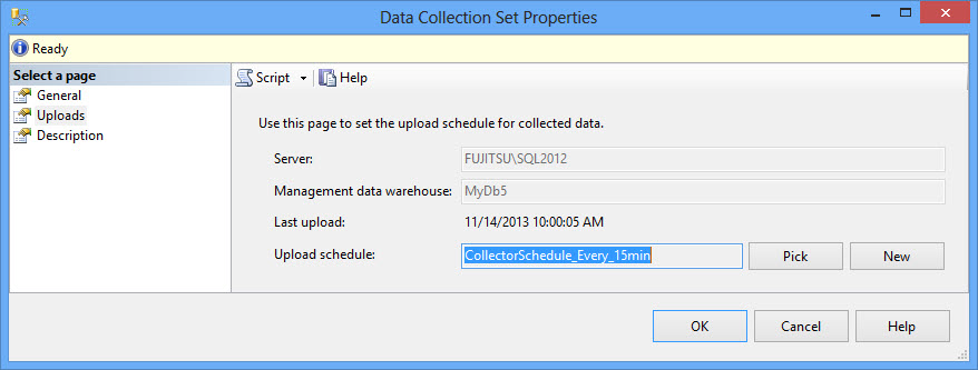 The Query Statistics data collection set properties - Uploads tab