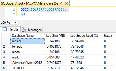 Monitoring the SQL transaction log space by using the DBCC SQLPREF command