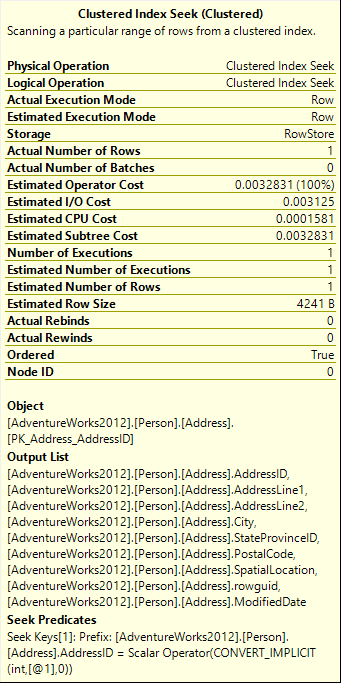 Clustered Index Seek (Clustered) tooltip