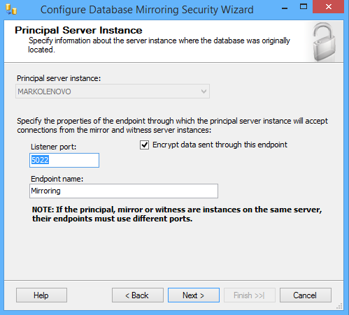 SQL Server Database Mirroring Security configuration wizard