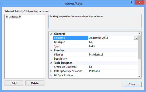 Dialog showing the identity column being added in the ascending order