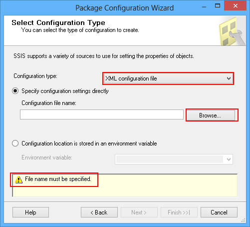 Dialog showing that an XML configuration file name must be specified