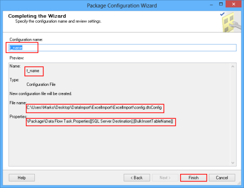 Package Configuration Wizard - Completing the Wizard dialog
