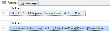 SHOWPLAN_TEXT results – shows the text of the estimated query plan