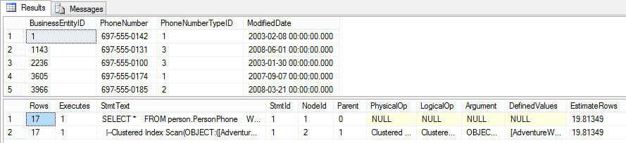 STATISTICS PROFILE results – shows the results and text of the actual query plan