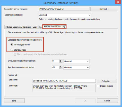 Secondary database settings dialog - choosing No recovery mode
