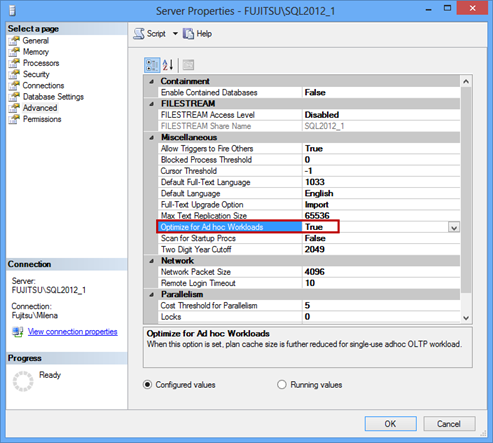 Server properties dialog - setting the Optimize for ad hoc workloads option to True