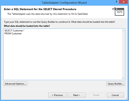 Eentering a SELECT statement for the Read stored procedure