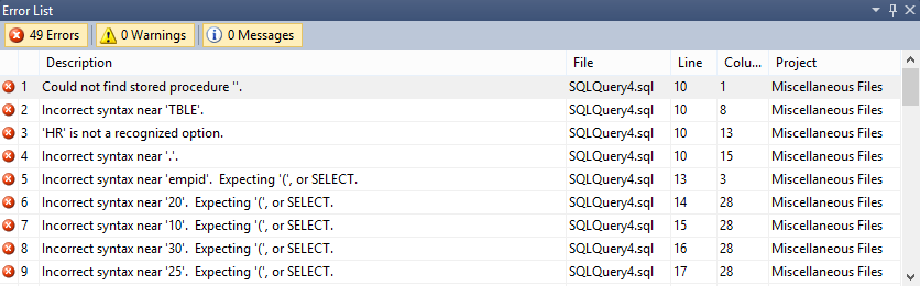 Dialog showing the SQL syntax Error list