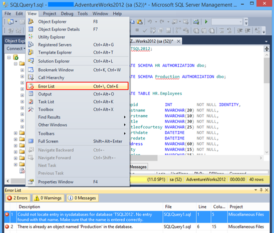 Selecting the Error List pane in SSMS