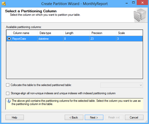 Select a Partitioning Column window