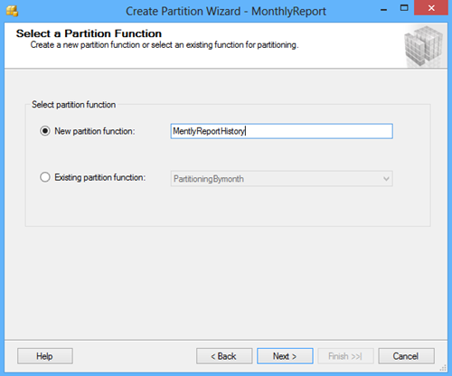 Select a Partition Function window