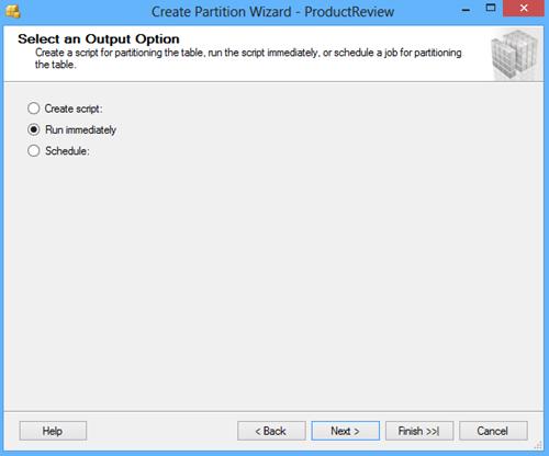 Select an output option window