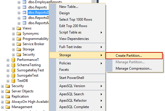 Choosing the Create Partition command