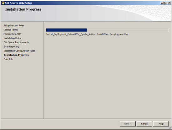 Figure illustrating the Installation Progress in SQL Server Management Studio 2012 Setup