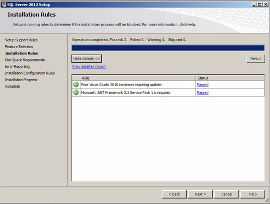 Figure illustrating the Installation Rules step in SQL Server 2012 Management Studio Setup
