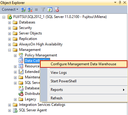 Selecting Configure Management Data Warehouse in Object Explorer