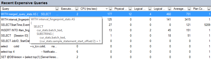 Recent Expensive Queries pane in SQL Server Activity Monitor