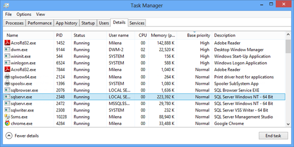 Windows Task Manager - Details tab