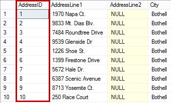 Dialog showing results ordered ascending by the clustered key column