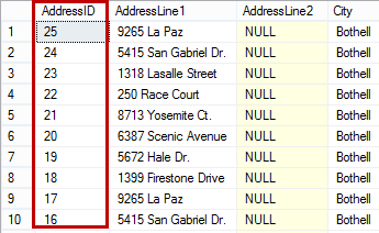 Dialog showing the AddressID column sorted descending