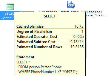 Dialog showing a tooltip with additional information for each item in the query plan
