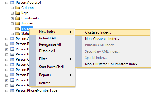 Selecting Clustered Index or Non-Clustered Index option