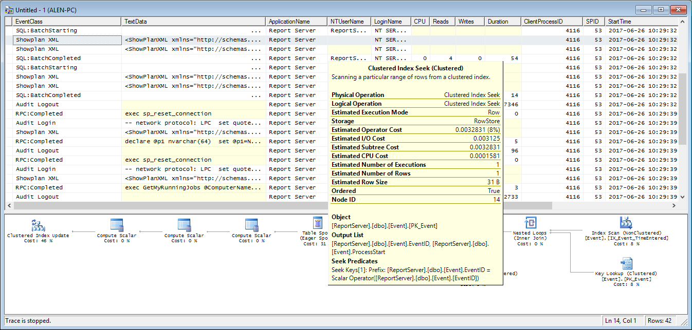 Dialog showing details for the SQL Server query plan in the tooltip that appears on mouse over