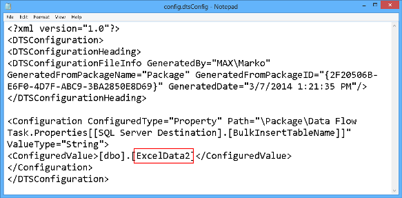 Changing the name of the destination table in the XML file will redirect importing data to the ExcelData2 table