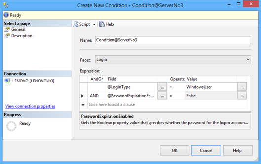 Creatin new condition - specifying name, facet, and expression