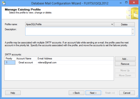 Database mail configuration wizard - manage an existing profile dialog