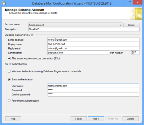 Database mail configuration wizard - manage an existing account dialog