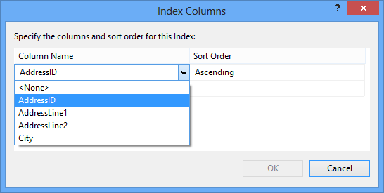 Selecting another column and sorting order in the Index columns dialog