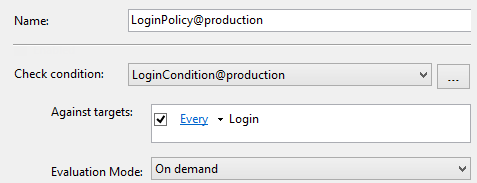 Dialog showing Policy Based Management log in policy