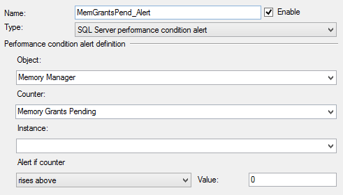 Dialog showing the Memory Grants Pending set up