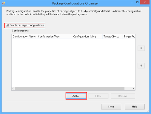 Click the Add button to create a new file using the Package Configurations Organizer