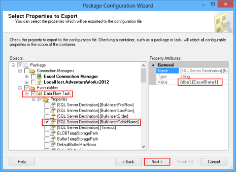 Selecting the properties for exporting using Package Configuration Wizard