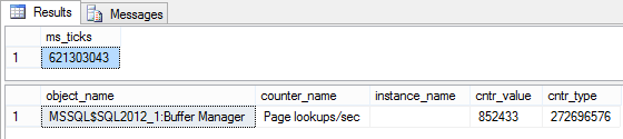 Dialog showing getting the ms_ticks value for Page lookups/sec, at the same time the counter values are taken