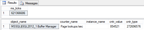 Dialog showing getting another ms_ticks value for Page lookups/sec, at the same time the counter values are taken