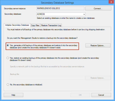 Secondary database settings dialog - choosing to generate a full backup