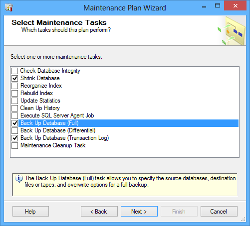 Selecting the required back up database tasks in the Select Maintenance Tasks dialog