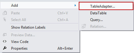Choosing the Add TableAdapter option