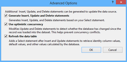 The Advanced Options dialog