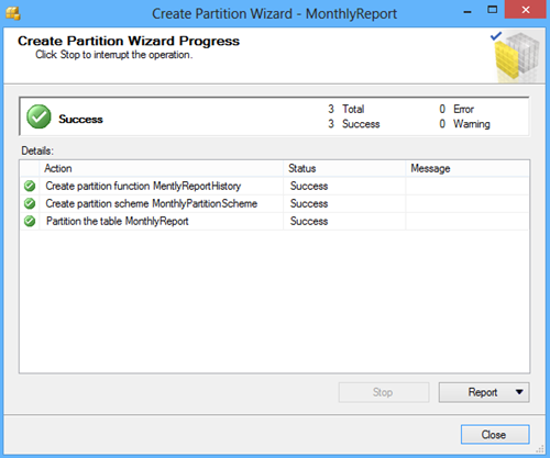 Create Partition Wizard Progress window