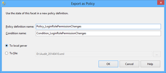 Audit configuration - Export as Policy dialog