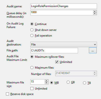 Checking audit configuration - The Create Audit dialog