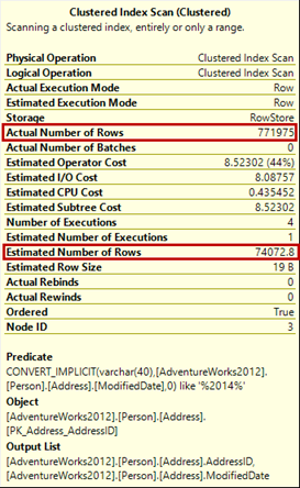 Looking at the Actual and Estimated number of rows in a SQL query execution plan