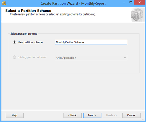 Select a Partition Scheme window