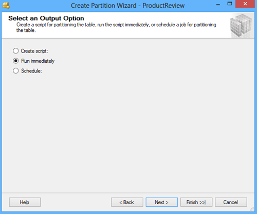 Select an output option window